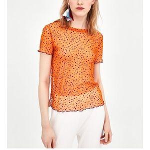 Zara orange polka dot tulle T-shirt